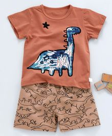Kookie Kids Half Sleeves Night Suit Dinosaur Print - Rust