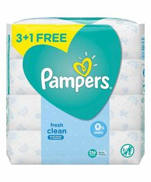 Pampers Fresh Baby Wipes Pack Of 4 - 256 Pieces