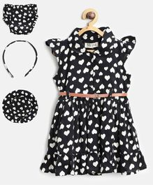 Bella Moda Heart Printed Cap Sleeves Dress & Bloomer With Hat & Hairband Set - Black