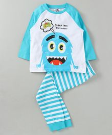 Ventra Boys Monster Print Full Sleeves Night Suit - White & Blue