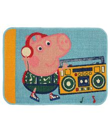 Saral Home Peppa Pig Printed Anti Slip Rubber Door Mat -Blue