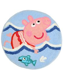 Saral Home Microfiber Anti Slip Bathmat Peppag Pig Design - Blue