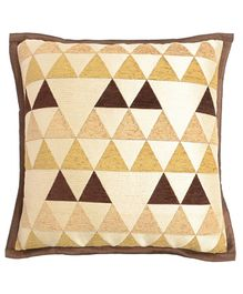 Saral Home Viscose Chenille Triangular Pattern Cushion Cover Set of 2 - Golden