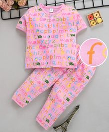 ToffyHouse Half Sleeves Night Suit Alphabet Print - Pink
