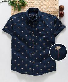 Jash Kids Half Sleeves Shirt Palm Tree Print - Navy Blue