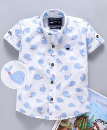 Jash Kids Half Sleeves Shirt Whale Print - Blue