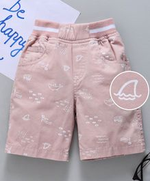 Jash Kids Elasticated Waist Shorts Sea Print - Light Pink