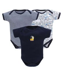 Bumzee Combo Of 3 Vehicle Print Half Sleeves Onesie - Navy Blue