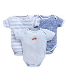 Bumzee Combo Of 3 Car Printed Half Sleeves Onesie - Light Blue
