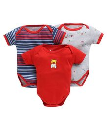 Bumzee Combo Of 3 Striped Half Sleeves Onesie - Red