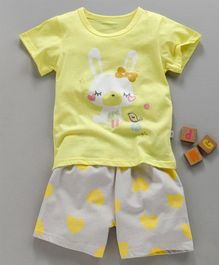 Kookie Kids Half Sleeves Night Suit Bunny Print - Light Yellow