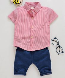 Kookie Kids Half Sleeves Striped Shirt & Bottom - Red