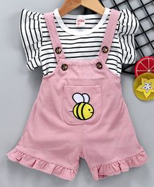 Kookie Kids Dungaree & Striped Tee Honeybee Embroidered - White Pink