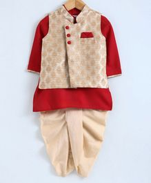 Babyoye Full Sleeves Kurta And Dhoti Set - Golden & Red