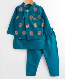 Babyoye Full Sleeves Slub Kurta With Jacket & Pajama Self Floral Design - Green