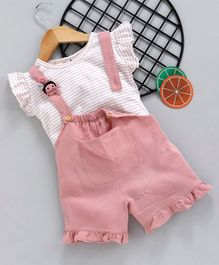 d9ac89532 Kookie Kids Solid Dungaree With Inner Flutter Sleeves Striped Top - White  Peach