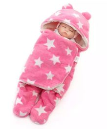 Brandonn Blanket Cum Sleeping Bag With Attached Hood Star Print - Pink