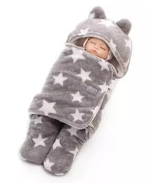 Brandonn Flannel Wearable Hooded Blanket Star Print - Grey