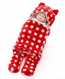 Brandonn Flannel Wearable Hooded Blanket Polka Dot Print - Red