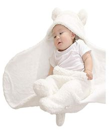 Brandonn Flannel Wearable Hooded Blanket Solid Colour - Cream