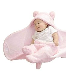 Brandonn Flannel Wearable Hooded Blanket Solid Colour - Light Pink