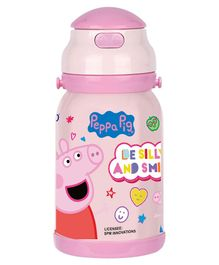 Youp Peppa Pig Stainless Steel Push Button Sipper Pink - 500 ml