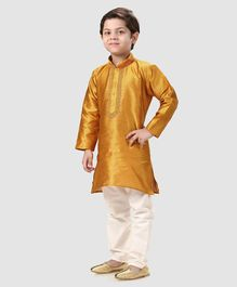 Ridokidz Embroidered Full Sleeves Kurta & Pyjama Set - Gold
