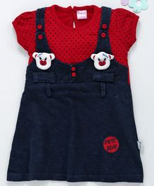 U R Cute Short Sleeves Polka Dot Print Pinafore Style Dress - Red