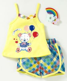 U R Cute Sleeveless Teddy Bear Print Tee With Shorts - Yellow