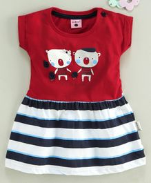 U R Cute Cap Sleeves Teddy Bear Print Striped Flare Dress - Red