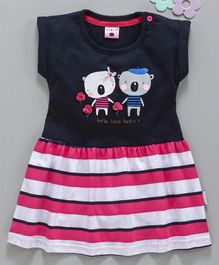 U R Cute Cap Sleeves Teddy Bear Print Striped Flare Dress - Navy Blue