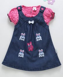 U R Cute Short Sleeves Polka Dot Print Top With Bunny Patch Pinafore Dress - Pink