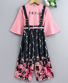 Enfance Three Fourth Sleeves Top With Flower Print Dungaree - Pink