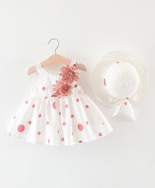 Awabox Flower Decorated Sleeveless Dress And Hat - Pink