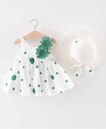 Awabox Flower Decorated Sleeveless Dress And Hat - Green