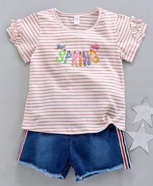 2456626d6 Kookie Kids Striped Half Sleeves Top & Shorts Spring Patch - Pink