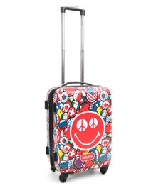 Smiley  Hard Trolley Bag Red - Height 20 Inches