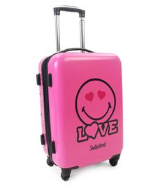 Smiley Hard Trolley Bag Love Print Pink - Height 20 Inches