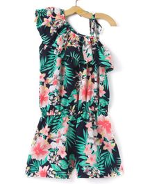 M'Andy Sleeveless Flower Printed One Shoulder Jumpsuit - Black