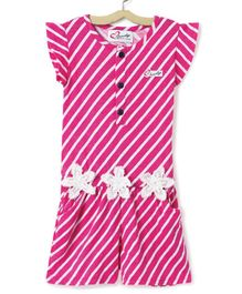 M'Andy Short Sleeve Striped Jumpsuit - Pink