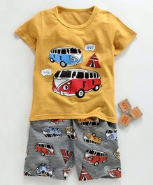 Kookie Kids Half Sleeves Night Suit Bus Print - Yellow