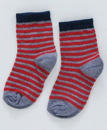 Cute Walk by Babyhug Non Terry Antibacterial Ankle Length Socks Striped - Red Grey