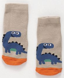 Cute Walk By Babyhug Non Terry Antibacterial Ankle Length Socks With Dragon Print - Cream