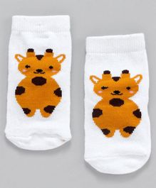 Cute Walk by Babyhug Non Terry Antibacterial Ankle Length Socks Animal Design - White