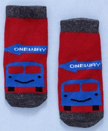 Cute Walk By Babyhug Non Terry Antibacterial Ankle Length Socks With Train Design - Red & Blue