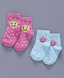 Cute Walk by Babyhug Anti Bacterial Ankle Length Non Terry Socks Hearts & Dots Design Pack of 2 - Pink Blue