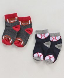 Cute Walk by Babyhug Anti Bacterial Ankle Length Non Terry Socks Ball Print Pack of 2 - Red Grey