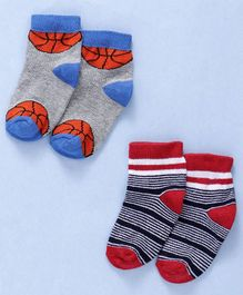 Cute Walk By Babyhug Non Terry Antibacterial Ankle Length With Basketball Print Set of 2 - Multicolor