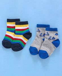 Cute Walk by Babyhug Anti Bacterial Ankle Length Non Terry Socks Scooter Design Pack of 2 - Multicolour Grey