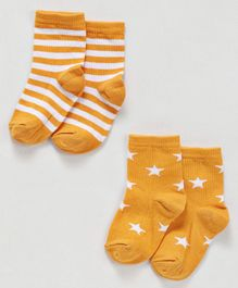 Cute Walk By Babyhug Non Terry Antibacterial Ankle Length Socks With Stars and Stripes Print Pack of 2 - Yellow & White